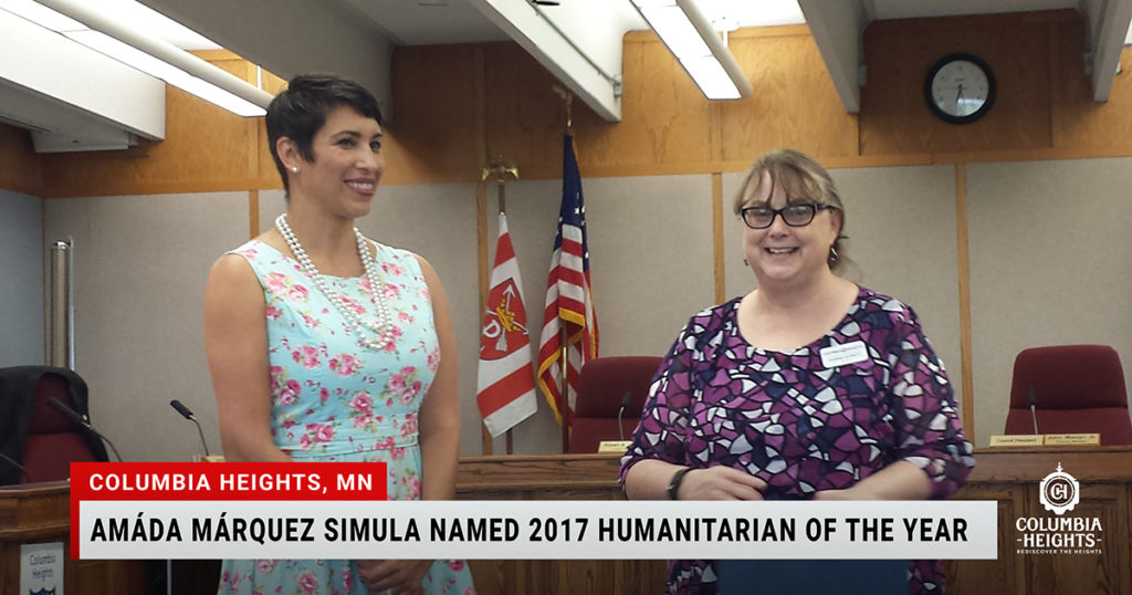Columbia Heights, MN - Amáda Márquez Simula Named 2017 Humanitarian of the Year