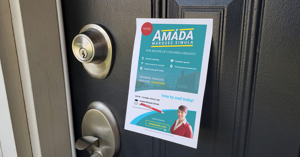 Campaign literature posted to a door