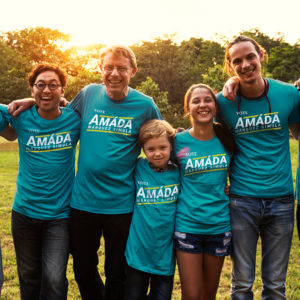 Supporters wearing Vote Amáda T-Shirts