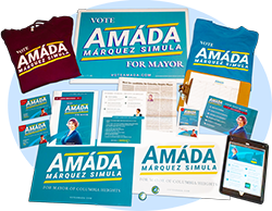 Printed and digital collateral created by Amáda's campaign staff have been critical in reaching voters.